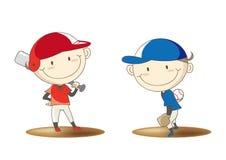 Imagen de la confrontación del béisbol del estudiante de la escuela primaria stock de ilustración