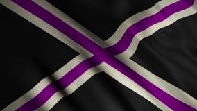 Imagen de la cruz blanca y púrpura en un fondo negro en la bandera CUALIDADES DEL PODER metrajes
