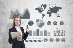 Imagen de la empresaria en gráfico gris del dibujo del traje imágenes de archivo libres de regalías