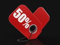 Imagen de la etiqueta el 50% Imágenes de archivo libres de regalías