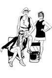 Imagen de la familia joven en resto stock de ilustración