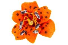Imagen de la flor del lirio tigrado hecha de las lanas Imagenes de archivo