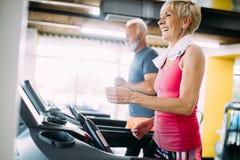 Imagen de la gente mayor que corre en la rueda de ardilla en gimnasio fotografía de archivo