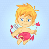 Imagen de la historieta de la pequeña tarjeta del día de San Valentín linda del St del cupido Fotos de archivo libres de regalías