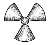Imagen de la historieta del icono activo de radio Muestra radiactiva radiación ilustración del vector