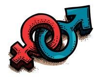 Imagen de la historieta del varón, sex symbol femenino género Fotos de archivo