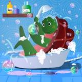 Imagen de la historieta del vector de la tortuga en toalla del cuarto de baño Fotografía de archivo