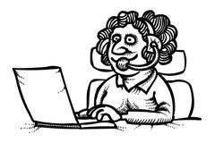 Imagen de la historieta del vector plano ic del operador de la mujer del soporte técnico stock de ilustración