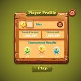 Imagen de la interfaz de usuario de madera de las ventanas Perfil del jugador Imagen de archivo