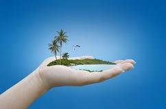 Isla en la mano Fotografía de archivo