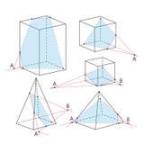 Imagen de la matemáticas - secciones de poliedros Fondo de la geometría Foto de archivo libre de regalías