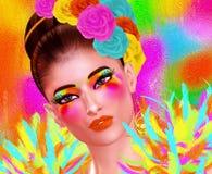 Imagen de la moda y de la belleza de una mujer en un equipo colorido con las plumas y los accesorios a juego