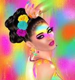 Imagen de la moda y de la belleza de una mujer en un equipo colorido con los accesorios a juego