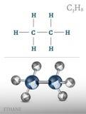 Imagen de la molécula del etano Imagen de archivo libre de regalías