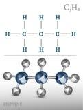 Imagen de la molécula del propano Foto de archivo