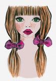 Imagen de la muchacha de la acuarela, impresión de la camiseta stock de ilustración