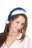 Imagen de la muchacha alegre del ayudante de santa Imagen de archivo
