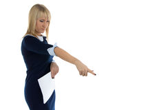 Imagen de la mujer de negocios del descontento Imagenes de archivo