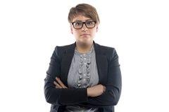 Imagen de la mujer de negocios rechoncha con el pelo corto Fotografía de archivo