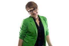 Imagen de la mujer de negocios rechoncha feliz Fotografía de archivo libre de regalías