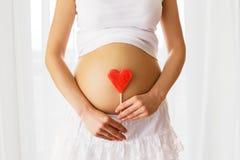 Imagen de la mujer embarazada que lleva a cabo la muestra del corazón Fotografía de archivo