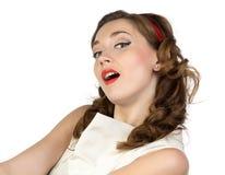 Imagen de la mujer joven con la boca abierta foto de archivo libre de regalías