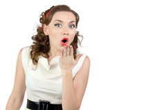 Imagen de la mujer muy sorprendida con la mano Imágenes de archivo libres de regalías