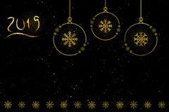 Imagen de la Navidad con las bolas del oro ilustración del vector