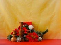 Imagen de la Navidad con verde y el candelero del abeto Fotos de archivo libres de regalías