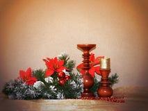 Imagen de la Navidad con verde y el candelero del abeto Imágenes de archivo libres de regalías