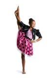 Imagen de la niña flexible que hace fractura de la vertical Fotografía de archivo