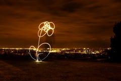 Imagen de la noche con una flor de la luz pintada imágenes de archivo libres de regalías