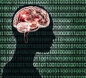 Imagen de la radiografía de la cabeza humana con código binairy y un cerebro stock de ilustración