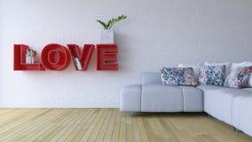 imagen de la representación 3d de la sala de estar del diseño interior Fotos de archivo
