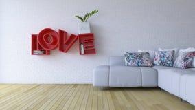 imagen de la representación 3d de la sala de estar del diseño interior Imagen de archivo
