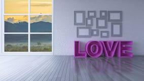 imagen de la representación 3d de la sala de estar del diseño interior Imagen de archivo libre de regalías