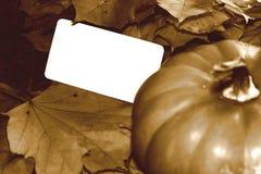 Imagen de la sepia de la acción de gracias con la calabaza y la tarjeta en blanco Fotos de archivo