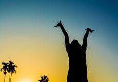 imagen de la silueta de la mujer feliz en naturaleza Fotografía de archivo libre de regalías