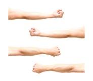 Imagen de la suma 4 del brazo en la acción del puño en el fondo blanco Fotos de archivo libres de regalías