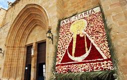 Imagen de la Virgen, banquete de la patrona, la catedral de Caceres, Extremadura, España Foto de archivo