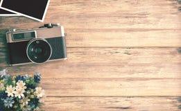 Imagen de la visión superior de la cámara del vintage Foto de archivo