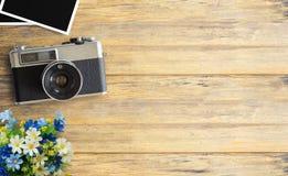 Imagen de la visión superior de la cámara del vintage Fotografía de archivo