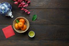 Imagen de la visión superior del Año Nuevo chino de la decoración accesoria y lunar aéreos Foto de archivo