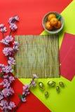 Imagen de la visión superior del Año Nuevo chino de la decoración accesoria y lunar aéreos Foto de archivo libre de regalías