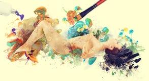 Imagen de las ilustraciones de la mujer mujer desnuda pintada por el cepillo imagen de archivo