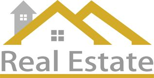 Imagen de las propiedades inmobiliarias y del logotipo Fotografía de archivo