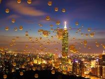 Imagen de linternas chinas en el cielo nocturno de Taipei, Taiwán stock de ilustración