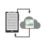 Imagen de los datos de la nube de la transferencia de Smartphone Imagen de archivo