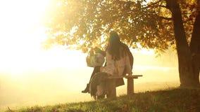 Imagen de los pares cariñosos alegres que se sientan al aire libre en el bosque que mira a un lado almacen de video