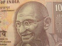 Imagen de Mahatma Gandhi en 10 rupias de nota de la India Imágenes de archivo libres de regalías